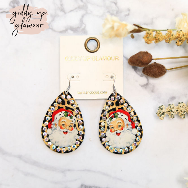Holly Jolly Christmas Leopard Earrings with AB Crystal Trim