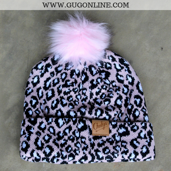Leopard Print Beanie with Pom Pom in Light Pink
