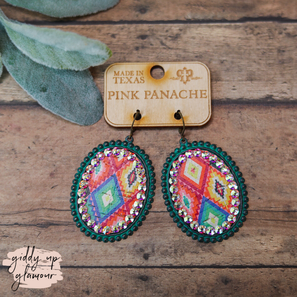 Pink Panache | Large Oval Earrings in Turquoise with Aztec Inlay Outlined in AB Crystals