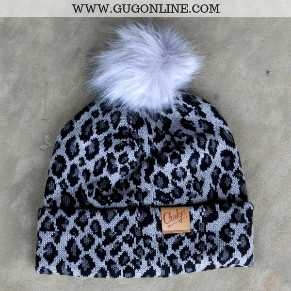 Leopard Print Beanie with Pom Pom in Charcoal Grey