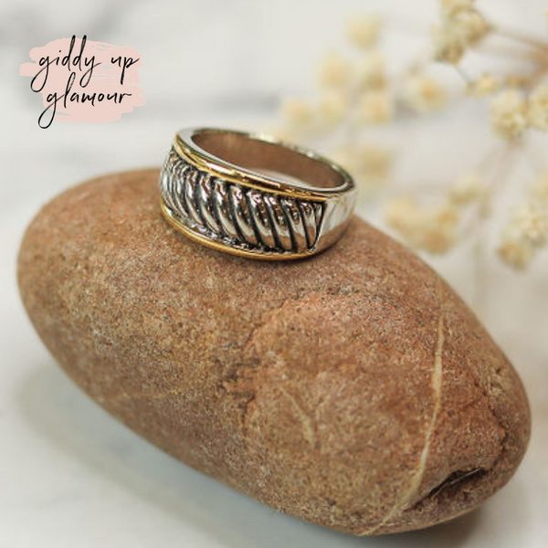 Designer Inspired | Two Toned Round Rope Band Ring