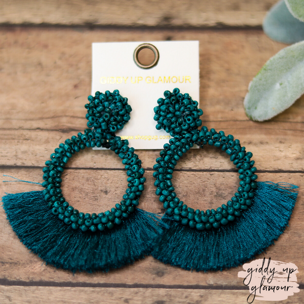 Seed Bead Circle Hoops with Fan Fringe Trim in Teal