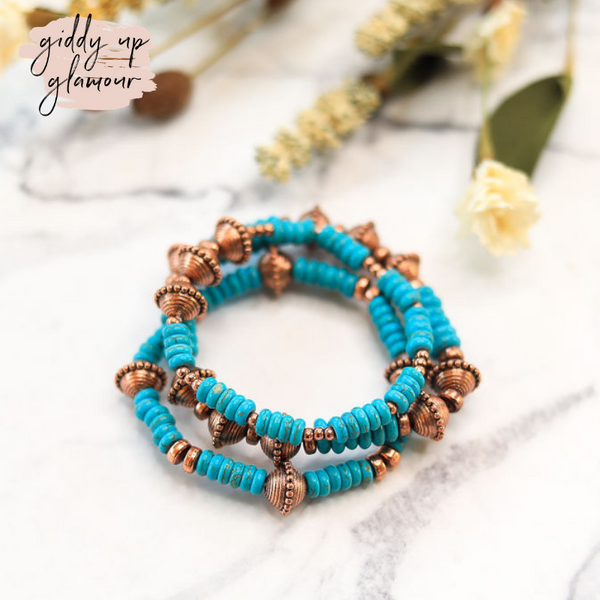 Set of 3 Native Inspired Beaded Bracelets in Turquoise and Copper