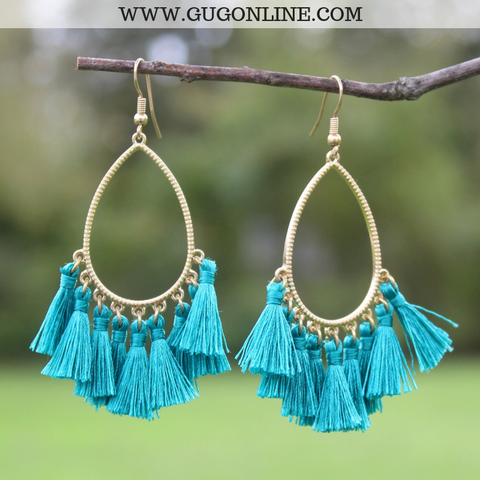 Gold Teardrop Tassel Earrings in Turquoise