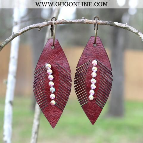 Lightweight Maroon Leather Feather Earrings with AB Crystals