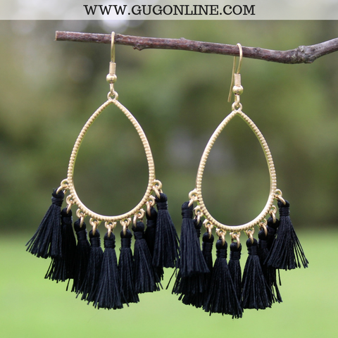 Gold Teardrop Tassel Earrings in Black