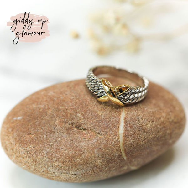 Designer Inspired | Two Toned X Rope Ring