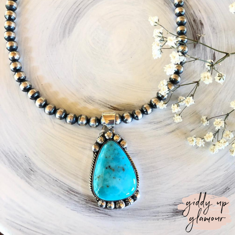 Zia | Genuine Navajo Turquoise Stone Pendant with Silver Detailing