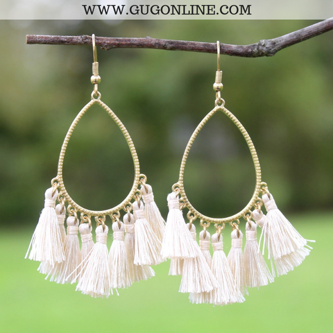 Gold Teardrop Tassel Earrings in Ivory