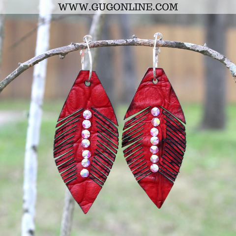 Lightweight Red Feather Earrings with AB Crystals