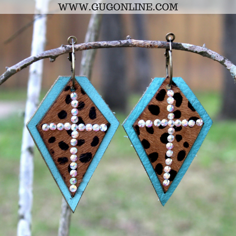 Turquoise Leather Earrings with Leopard Hair on Hide and AB Crystal Cross