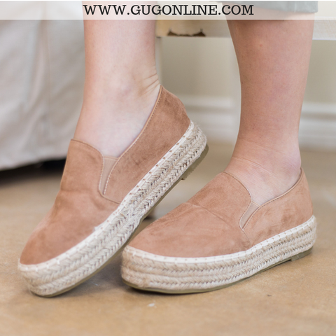 Trust Your Path Suede Platform Espadrille Flats in Taupe