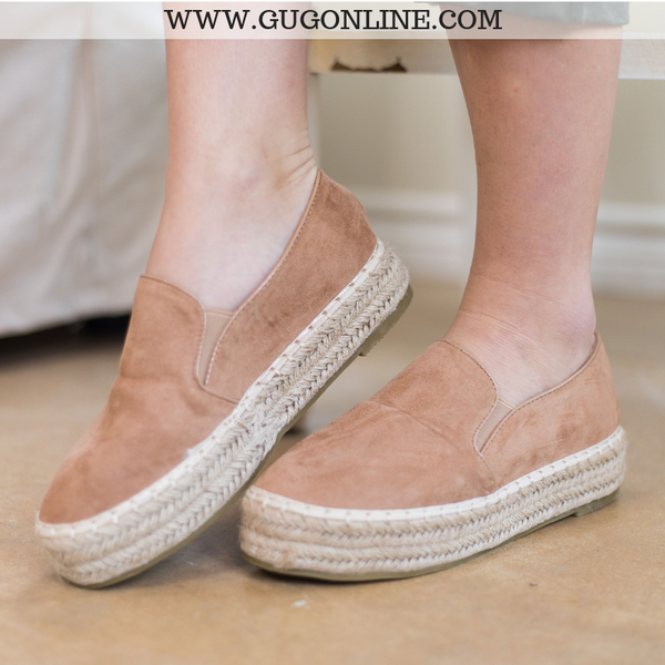 Modeled Shoes | Trust Your Path Suede Platform Espadrille Flats in Taupe - Size 8.5