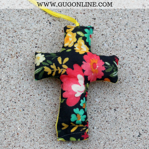 Navy Floral Print Cross Freshie - Leather & Lace