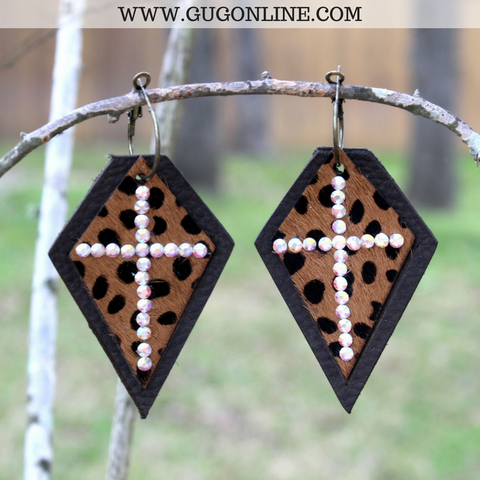 Brown Leather Earrings with Leopard Hair on Hide and AB Crystal Cross