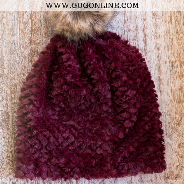 Fleece Lined Beanie with Pom Pom in Maroon