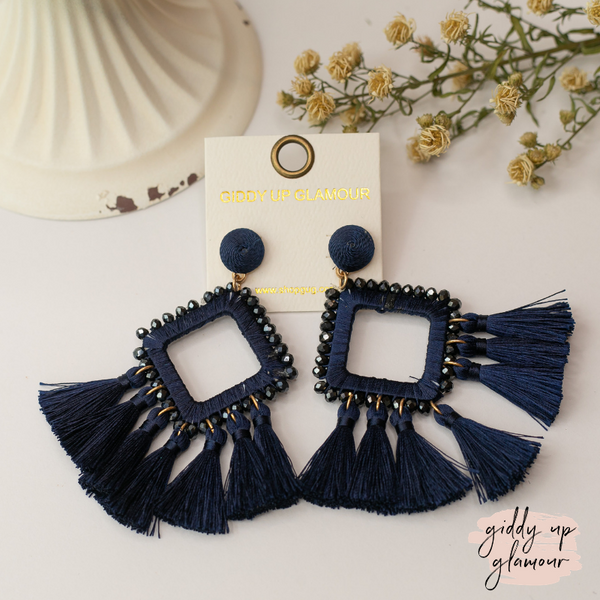 Crystal Diamond Outline Earrings with Tassels in Navy