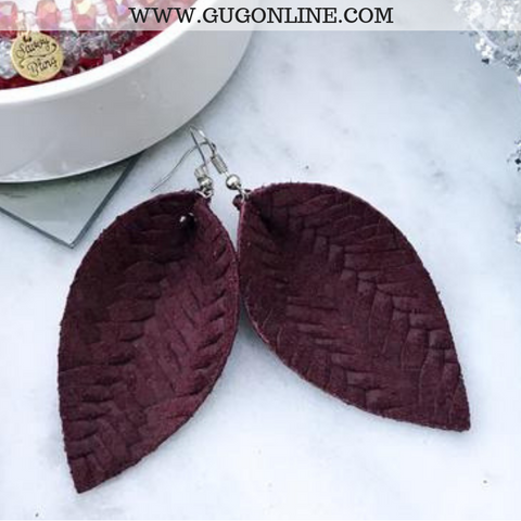 The JoJo's Braided Pinched Leather Earrings in Maroon