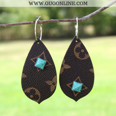 LV Leather Teardrop Earrings with Turquoise Stones