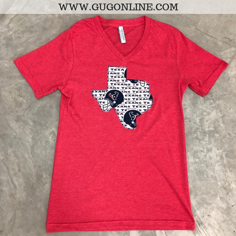 Go Houston Texans Short Sleeve Tee Shirt in Red
