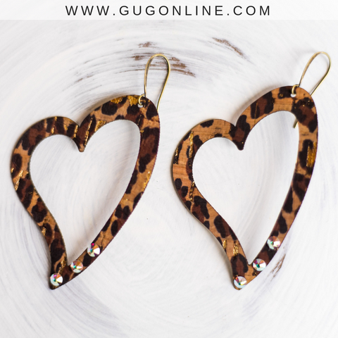 Pink Panache Leopard Heart Earrings with Crystals