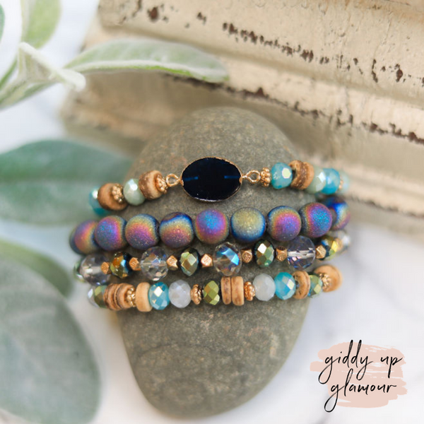 4 Piece Beaded Bracelet Set with Druzy Pendant in Navy