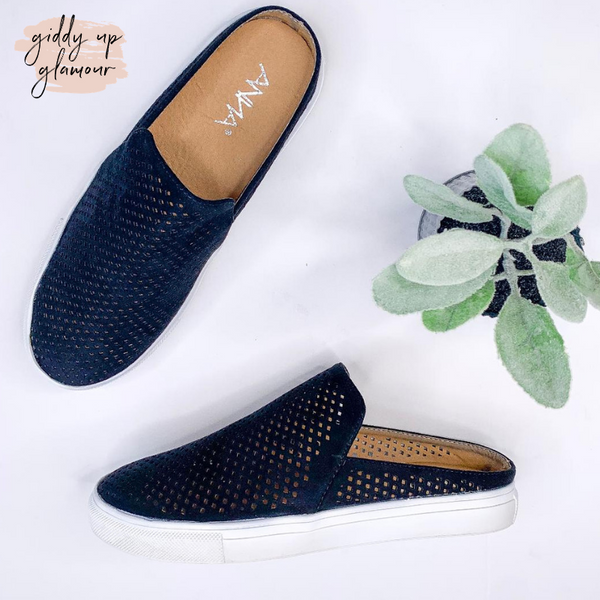All Too Easy Laser Cut Suede Slip- On Sneakers in Black
