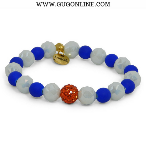 Erimish Gameday Stackables - Athens Blue and White Beads with Orange Rondell