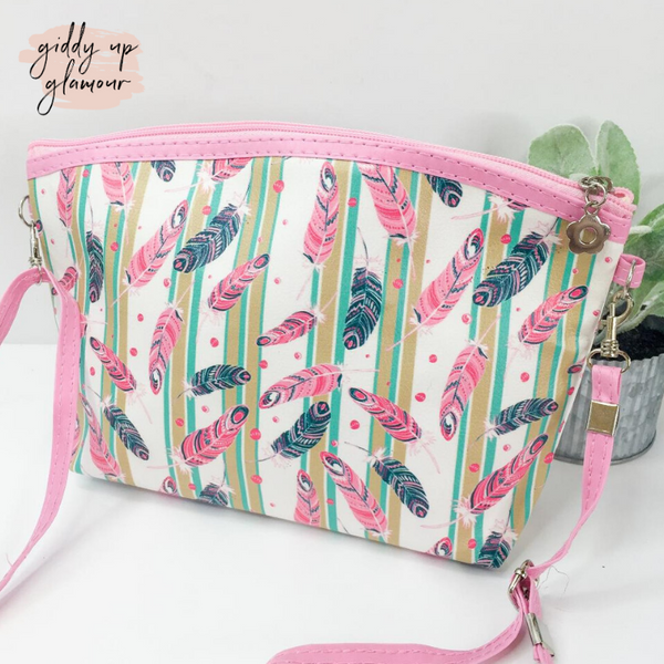 Oh So Versatile Cosmetic Bag/ Cross Body Purse in Pink and Navy Feathers