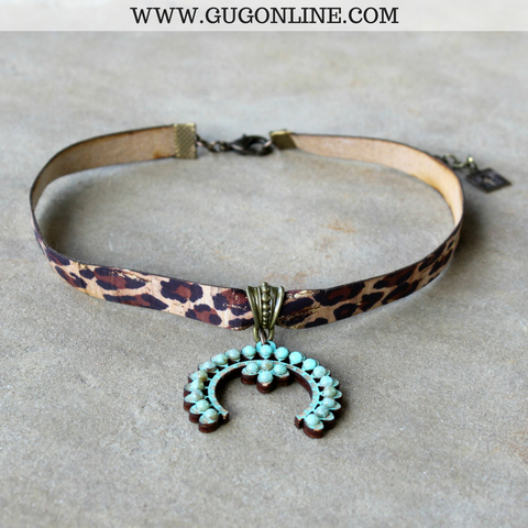 Pink Panache Leopard Choker Necklace with Small Turquoise Squash Blossom