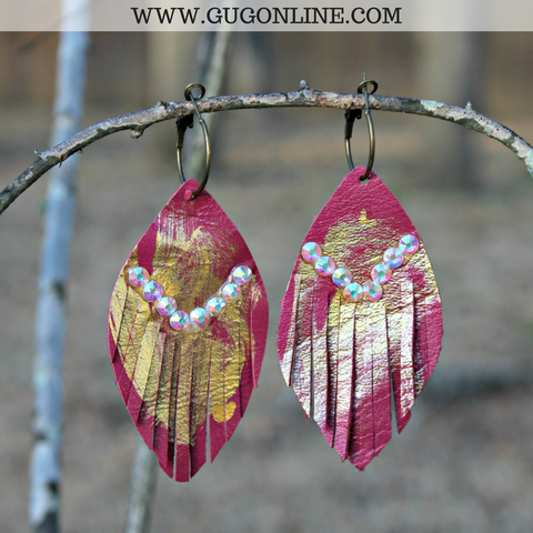 Hot Pink Leather Feather Earrings with Gold Foil and AB Crystals