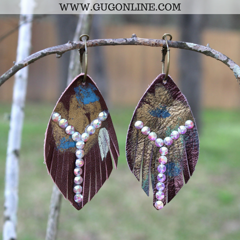 Leather Peacock Feather Earrings with Gold Foil and AB Crystals