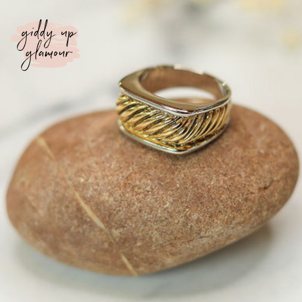 Designer Inspired | Two Toned Square Rope Band Ring