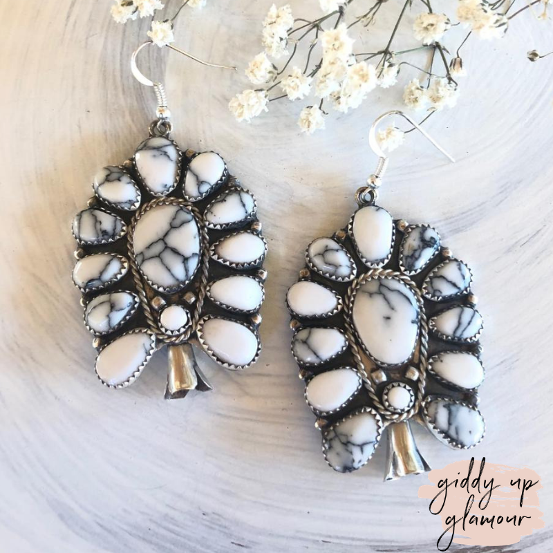 Navajo | Genuine Sterling Silver and White Buffalo Stone Squash Cluster Earrings