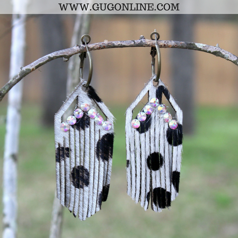 Black and White Leopard Hair on Hide Fringe Earrings with AB Crystals