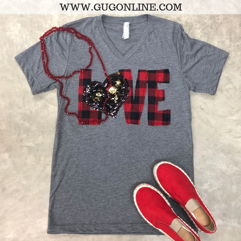 When Love Sparkles Buffalo Plaid Short Sleeve Tee with Sequin Heart in Heather Grey