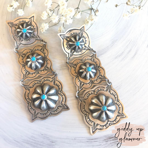 Rita Lee | Navajo Handmade Genuine Sterling Silver Three Tier Square Conchos with Turquoise