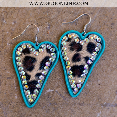 Leopard Heart Earrings with AB Crystals in Turquoise