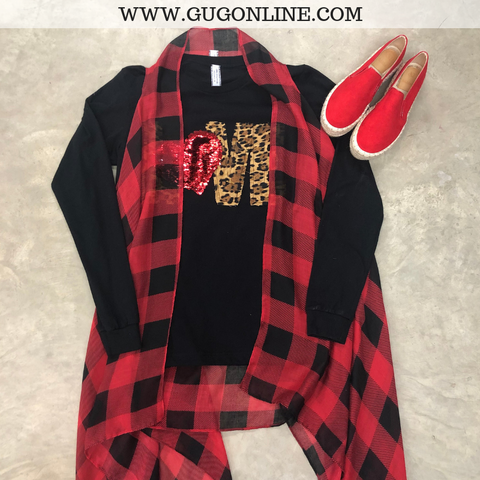 Can't Stop Won't Stop Sheer Buffalo Plaid Vest in Red