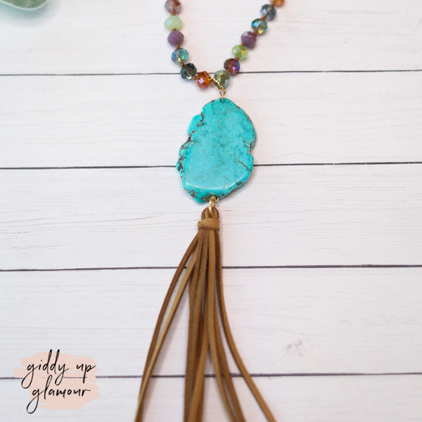 Turquoise Stone Necklace with Multicolor Crystals and Brown Tassels