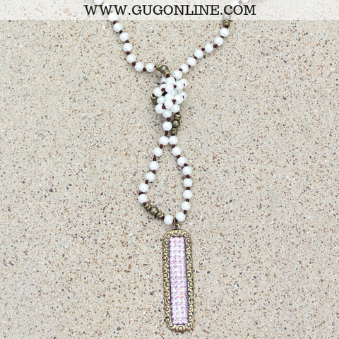 Pink Panache Long Pearl Necklace with Long Bronze Rectangle with AB Crystals