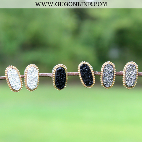 Black, White, and Grey Druzy Stud Earring Set