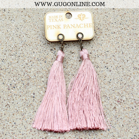 Pink Panache Blush Pink Tassel Earrings with Powder Rose AB Crystals