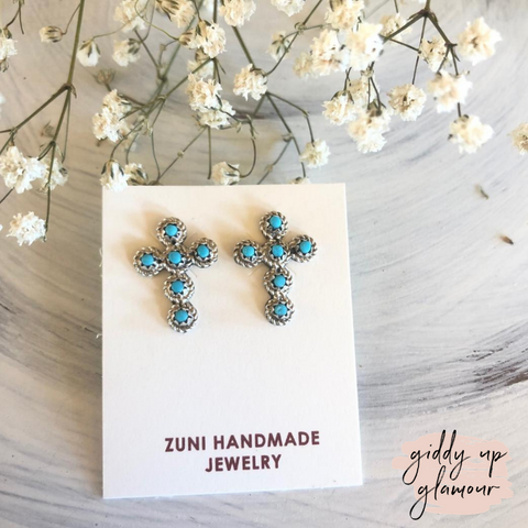 Zuni | Genuine Navajo Sterling Silver and Turquoise Tiny Cross Stud Earrings