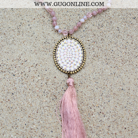 Pink Panache Long Blush Crystal Tassel Necklace with Large Oval and Powder Rose AB Crystals