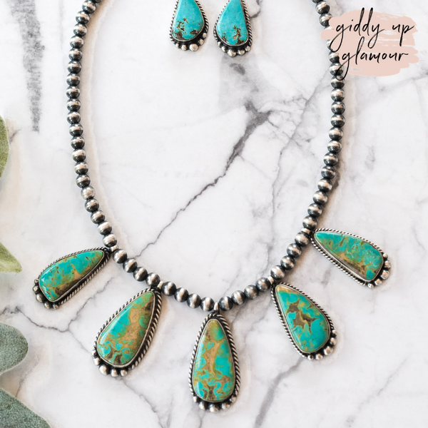Robert Shakey | Handmade Navajo Kingman Turquoise & Navajo Pearl Bib Necklace + Matching Earrings