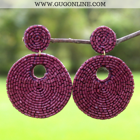 Beaded Statement Earrings in Maroon
