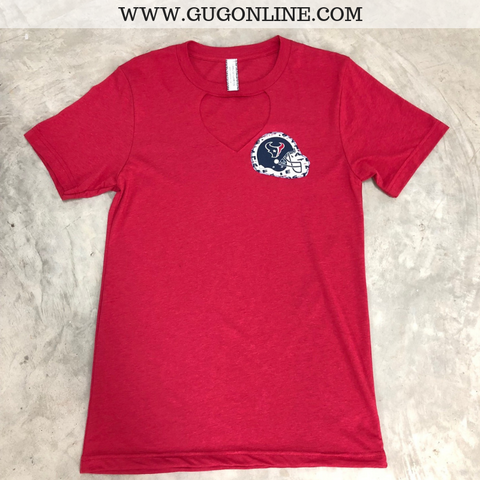 Go Houston Texans Short Sleeve Tee Shirt with Keyhole Cut Out in Red