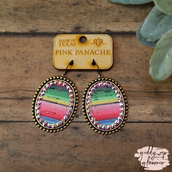 Pink Panache Bronze Oval Earrings with Serape and AB Crystals