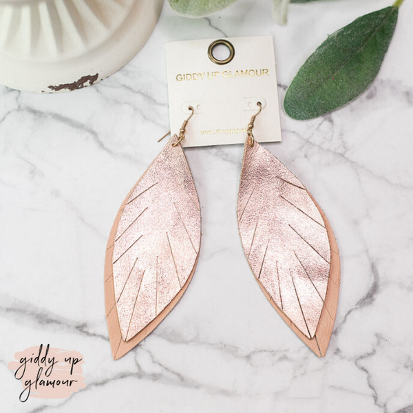 Two-Toned Light As a Feather Leather Earrings in Rose Gold